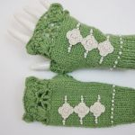 Mitenki handmade wełna zielone - na prezent