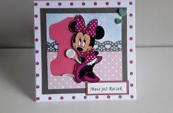 Kartka na Urodziny Myszka Minnie różowa