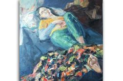 Śpiąca-duży obraz olejny na płótnie