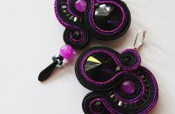Czarno-fioletowe kolczyki z jadeitami