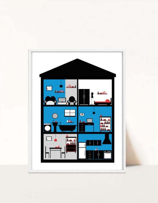 Plakat In House / Blue -