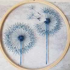 komplet tamborków: Niebieskie dmuchawce