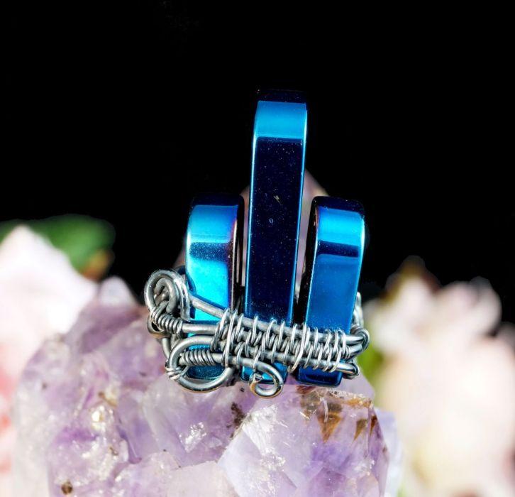 Srebrny pierścionek z hematytem niebieskim - pierścionek z hematytem