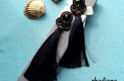 Bardzo Długie Czarne z Chwostem kolczyki