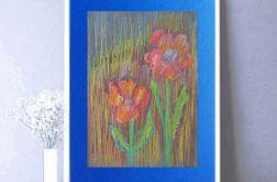 Rysunek z kwiatami na granatowym tle nr 4