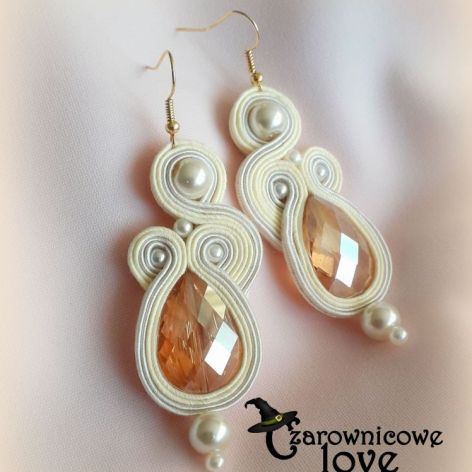 Kremowe eleganckie kolczyki z perłami