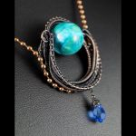Wisior z miedzi z kulką chryzokoli - Copper pendant with Chrysocolla and Crystal, Nicole Hanna designed, gift for her gift for mom perfect present unique artisan handcrafted