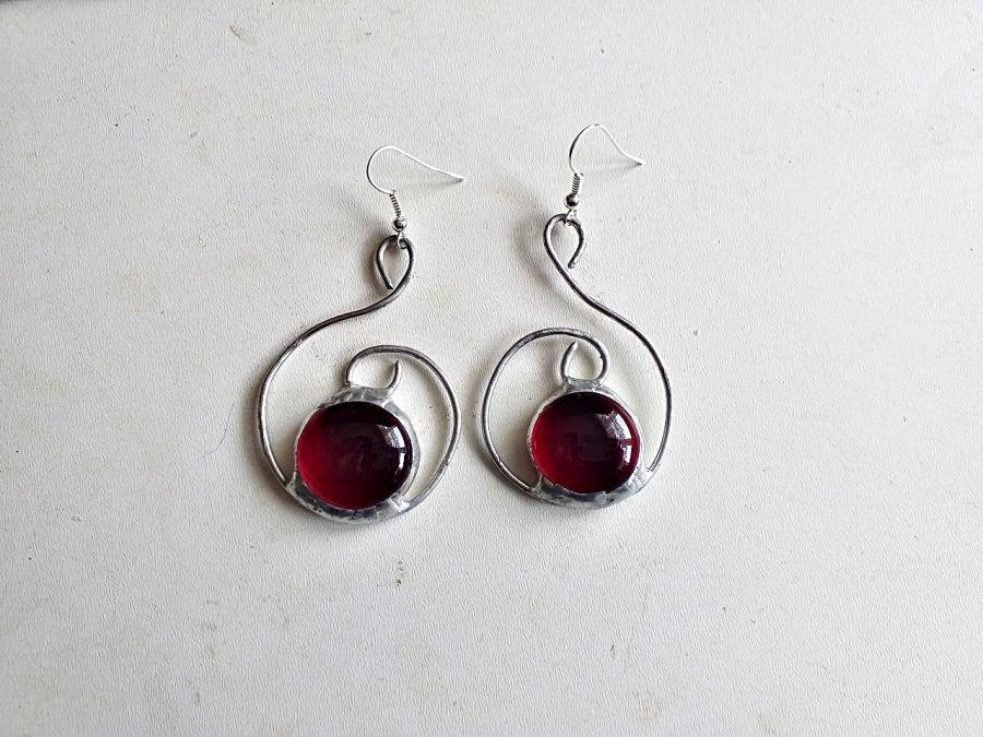 Kolczyki Zawijas Tiffany czerwony - kolczyki zawijas na biglu otwartym