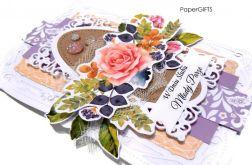 Kartka ślubna z różą ręcznie robiona