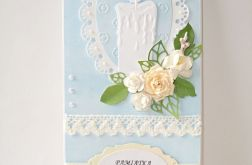 Błękitna kartka na chrzest ze świeczką