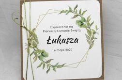 Zaproszenie na komunię dla chłopca eko rustykalne ZKS 011