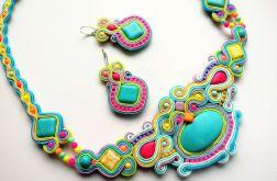 Naszyjnik sutaszowy z kolczykami Pastel&Neon