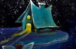"""""""Domek elfów"""" obraz akrylowy na płótnie 70x50"""