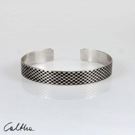 Rybia łuska - metalowa bransoletka 1 cm 210422-03