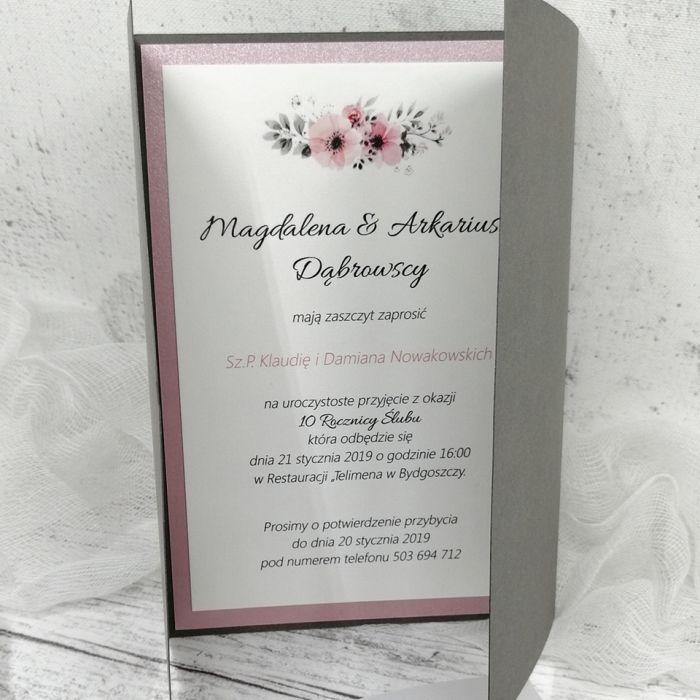 zaproszenia ślubne popielato różowe 004 - środek