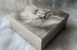szkatułka z aniołkiem retro