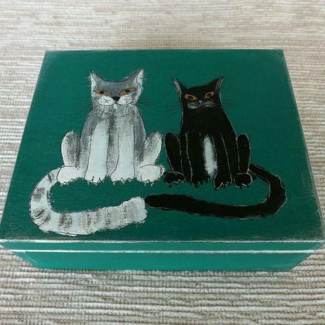 Pudełko malowane - Koty, zieleń morska