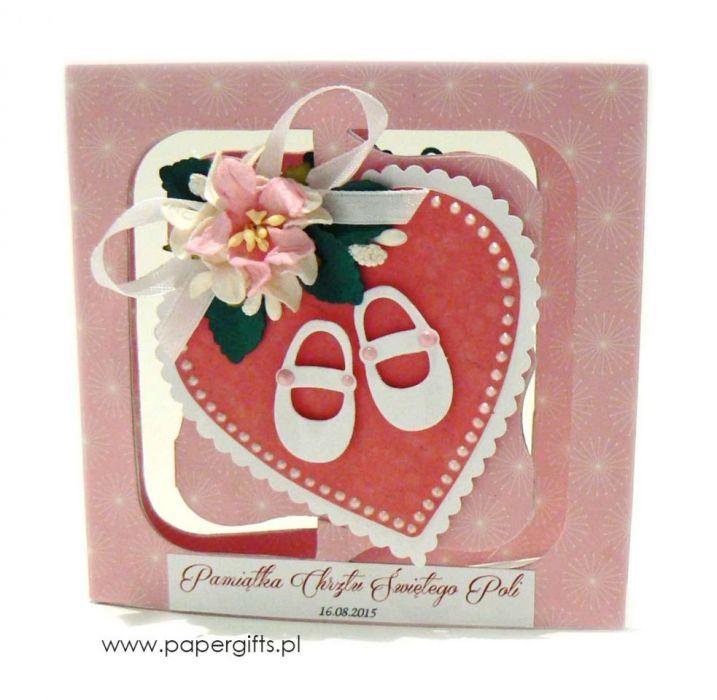 Różowa Pamiątka Chrztu kartka ręcznie robiona - Pamiątka z bucikami