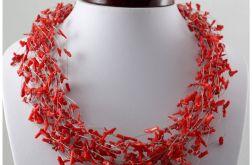 Czerwony koral w oplocie - naszyjnik 1307a