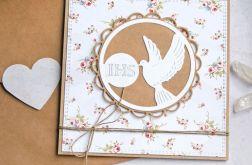 kartka komunijna : gołąb : kwiatuszki