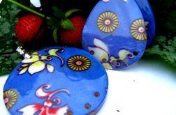 Duży wisior i kolczyki - masa perłowa w kwiaty