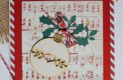 Kartka świąteczna bombka tekturowa sznurek