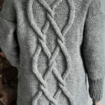 Długi szary sweter - szary swetr tył