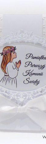 Pamiątka Komunii Św. Dziewczynki kwiaty białe