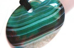 Zielono brązowy duży,owalny agat z kryształem