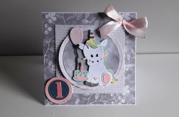 Kartka na Roczek dla dziewczynki jednorożec 1
