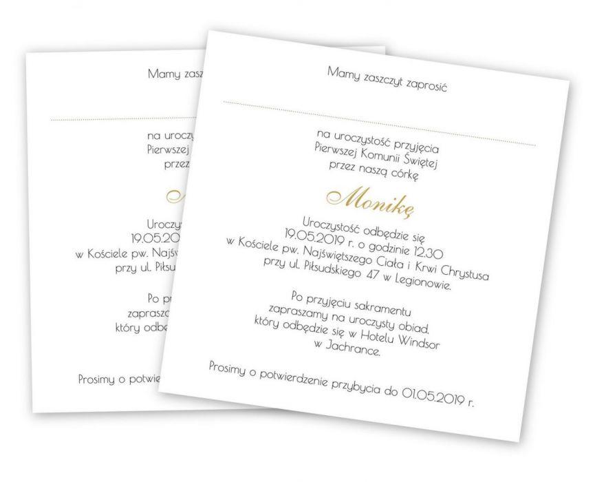 Zaproszenie na Komunię Świętą wianek 4 -