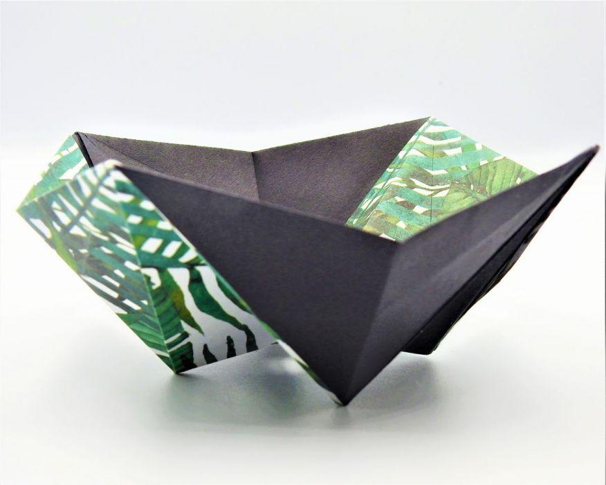 Geometryczna miseczka origami w liście palmy - 2