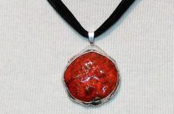 Wisior ceramiczny - owal, czerwony