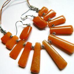 Awenturyn pomarańczowy, kolia i kolczyki