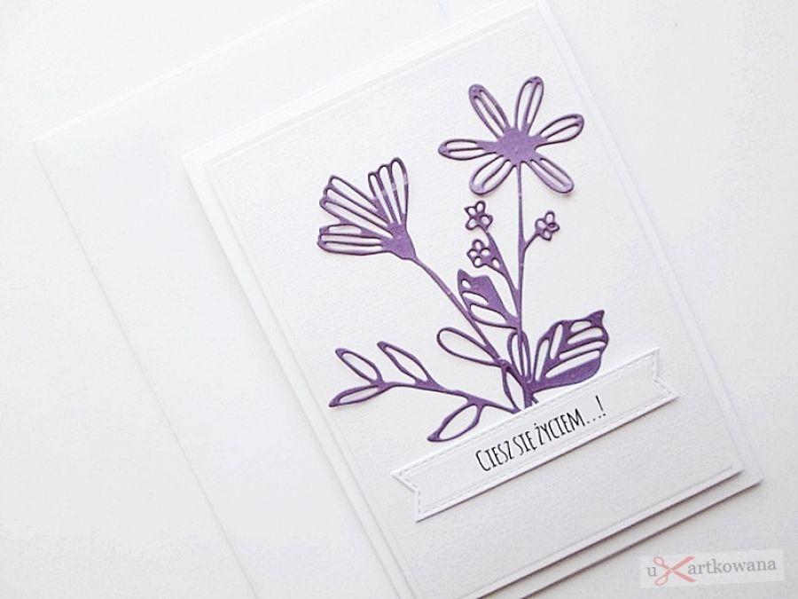 Kartka UNIWERSALNA - fioletowe kwiaty