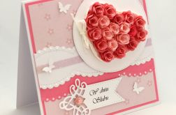 Kartka ślubna serce z róż KS140