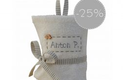 SALE 25% biały ręcznik do przedszkola paski
