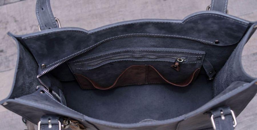 Ręcznie robiona skórzana torebka-szara