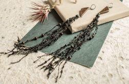 Długie drewniane kolczyki z czarnym lnem