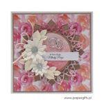 Kartka ślubna białe kwiaty i pastelowe róże - Kartka na ślub białe kwiaty i róże