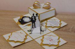 Złoty Exploding Box na ślub.