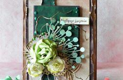Kartka w zieleniach i brązach