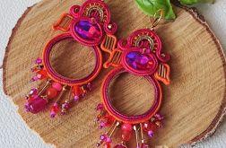 Różowo-pomarańczowe koła z kryształkami