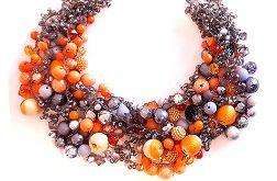 4591 naszyjnik kolia szary pomarańczowy