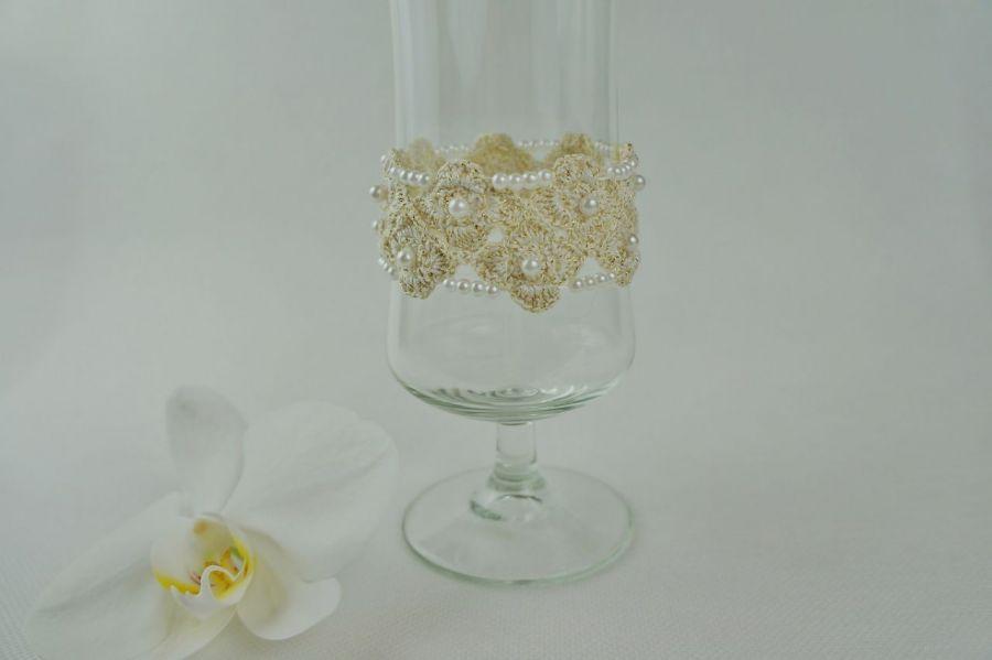 Bransoletka szydełkowa biało-złota  4 - Bransoletka handmade