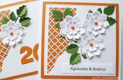 Kartka ROCZNICA ŚLUBU pomarańczowo-biała