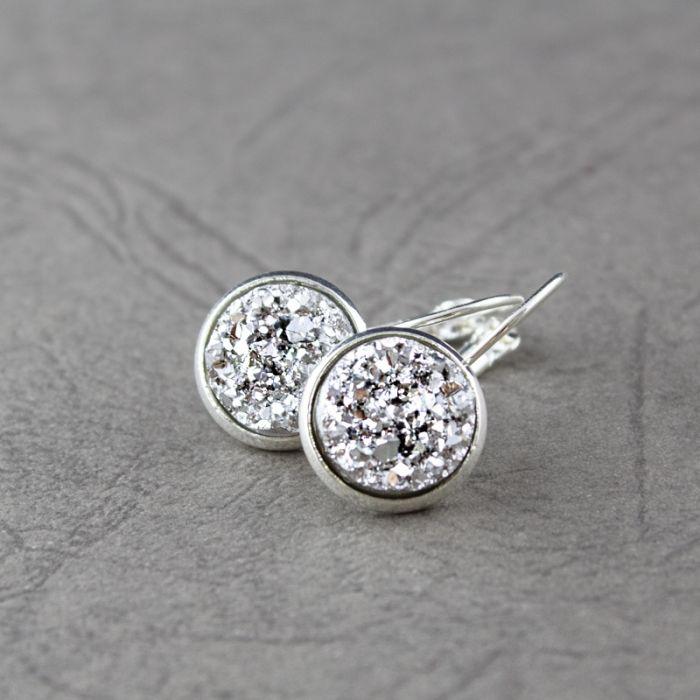 Kolczyki wiszące druzy srebrne