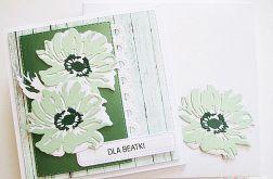 Kartka UNIWERSALNA - miętowo-białe kwiaty