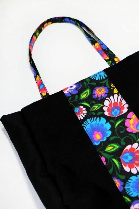Folkowa czarna - torba na zakupy