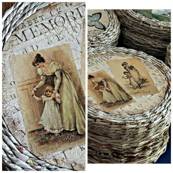 Koszyczek z gazetowej wikliny Retro pudełko - Koszyczek w sepii
